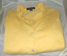 Land's End Size Medium Cardigan & Pullover Supima Cotton Yellow Women's Sweater