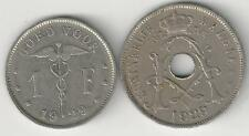 2 OLDER COINS from BELGIUM - 25 CENTIMES & 1 FRANC/BOTH 1929/BOTH FLEMISH