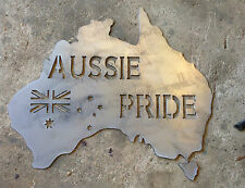 AUSSIE PRIDE RARE HEAVY DUTY PLASMA CUT SIZE METAL SIGN NED KELLY AUSTRALIA MAP