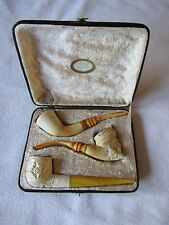 Boxed Set of 3 Carved Block Meerschaum Pipes In Original Case