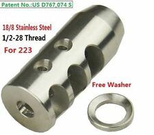 Stainless Steel 1/2x28 Thread 223 Short Competition Muzzle Brake W Crush Washer