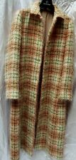 ☆BODEN☆60s Style Vintage Wool & Mohair Long Check Coat Pink Green & Ivory Size14