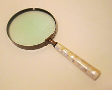 Very Large Bronze Magnifying Glass With Mother of Pearl Decoration This is HUGE