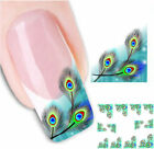 Nail Wraps Nail Art Decals Water Transfers Peacock Feather French Nail Tips Y108