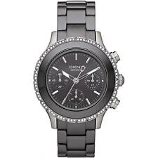 NEW-DKNY BLACK CERAMIC CHRONOGRAPH DIAL+PAVE CRYSTAL BEZEL WATCH-NY8671+BOX