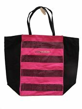 Victoria's Secret Canvas Bling Sequins Pink Black Purse Tote Handbag BOX-B-7236