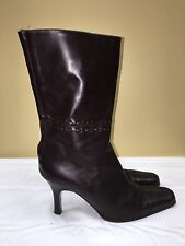 J.Crew Boots  Women Brown Leather Mid Calf hight Heels zipper  sz 8 pre-owned