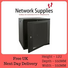 "12u 19"" 550mm Deep Black Wall Mounted Data Cabinet Patch Panel PDU Comms Network"