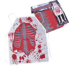 HORROR WHITE APRON WITH #BLOOD STAINS ADULT FANCY DRESS HALLOWEEN COSTUME