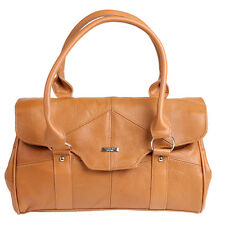 Ladies Leather Shoulderbag Handbag with Folder Over Flap Magnetic Clasp TAN 3801