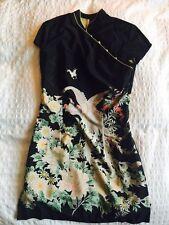 Vestido de Seda Kimono Estilo TOPSHOP raros, Negro Verde Lima Flores Reino Unido 8, muy apretado