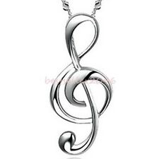 Ladies Silver Tone Glossy Smooth Treble G Clef Music Note Charm Pendant Necklace