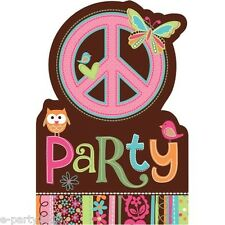 (8) HIPPIE CHICK INVITATIONS ~ Birthday Party Supplies Stationery Cards Notes