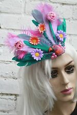 TEAR DROP PARROT FEATHER FASCINATOR HANDMADE BRIGHTON