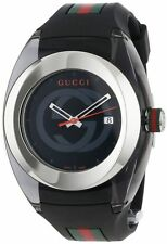 New Gucci Sync XL Swiss Black Striped Rubber Strap Unisex Watch YA137101