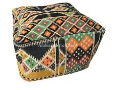 Handcrafted Egyptian Moroccan Bedouin Square Black Ottoman Pouf Footstool