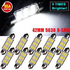 10 X White 42MM Festoon High Power 5630 Chip 9-LED SMD 6000K Map/Dome LED Lights