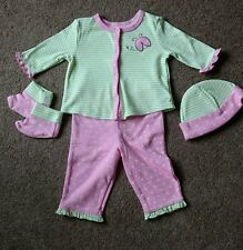 One Step Up Green Pink Baby Girl 4 Piece Outfit Stripes Spots 0-3 Months