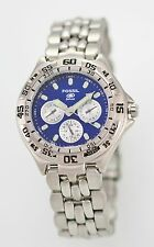 Fossil Blue Watch Mens Day Date 24hr Stainless Silver 50m Water Resistant Quartz