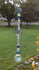 """Love"" - Blue Heart Suncatcher W/Glass Crystal Feng Shui Crystal Prism Ball USA"