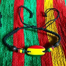 Rasta Emblem Colors Leather Wood Bead Wrist Bracelet Hippie Reggae Marley RGY