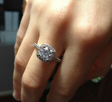 High Quality Halo Engagement Ring 1.5 carat Lab Diamond Costume Jewellery