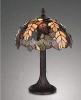 """IDEAL CHRISTMAS GIFT- HARVEST TIFFANY STYLE STAINED GLASS TABLE LAMP 12"""" WIDE"""