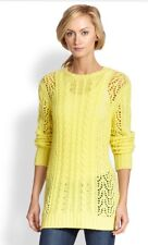 Equipment Amber Crew Neck Cable Knit Wool Cashmere Sweater Lemongrass S NWT $298