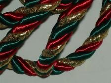"""Christmas cording Xmas trimming metallic gold red green rope cord 3 yards 3/8""""W"""