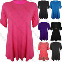 Womens Ladies Turn Up Button Sleeve Flared Swing Tunic Dress Long Top Plus Size