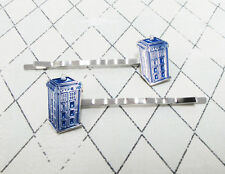 Blue Police Box Hair Pins hair clips bobby pins inspired by Doctor Who