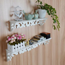 M White Wooden Carved Wall Shelf Display Hanging Rack Storage Rack Home Decor#S