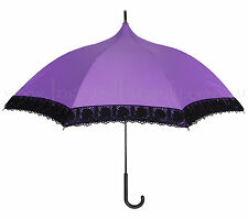 Purple + Black Lace Pagoda Parasol Rain Umbrella ~ Psychobilly Gothic Wedding