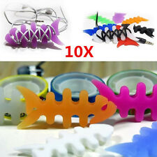 10PCS Silicone Rubber Fish Bone Headphone Earphone Cord Winder Wrap Cable Holder