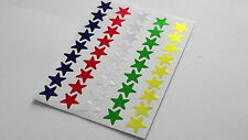 500 Shiny Foil Classic Star Stickers Multicolour Gold Silver Red Green Purple