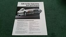 1987 / 1988 BUICK REGAL GRAN SPORT - USA SINGLE SHEET BROCHURE