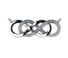 0.20 ct F VS2 round diamond infinity sign charm pendant 14k white gold 9x25mm