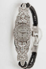 Vintage $7000 3ct Marquis Baguette Diamond 14k White Gold Ladies Watch