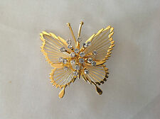 Vintage Estate Monet Gold Tone Rhinestone Butterfly Pin Brooch