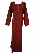 BOHEMIAN SHIFT DRESS MAROON EMBROIDERED BUTTON DOWN GYPSY HIPPIE DRESSES XL