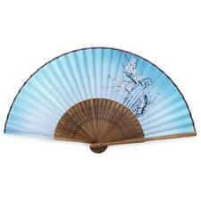 "SILK CHERRY BLOSSOM HAND FAN 8"" Sakura Multi Color Folding Pocket Purse Bamboo"