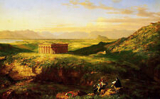 Oil painting Thomas cole - The Temple of Segesta with the Artist Sketching views