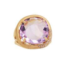MATTE 14K ROSE GOLD DIAMOND & PINK AMETHYST HALO COCKTAIL ENGAGEMENT RING
