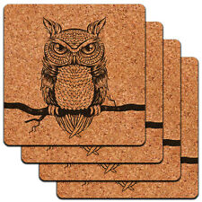 Owl Perched on Tree Branch Antique Rustic Tribal Low Profile Cork Coaster Set