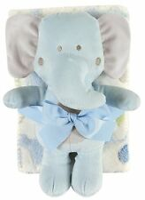 Stephan Baby Boy Crib Blanket & Plush Toy Set – Blue Elephant 120416