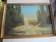 "ART DECO FRAMED R ATKINSON FOX FOUNTAIN OF LOVE PRINT IS 10"" X 15"" BEAUTIFUL OLD"
