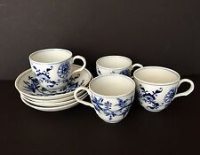 4 MEISSEN DEMITASSE SET BLUE ONION - MARKED CROSS SWORD