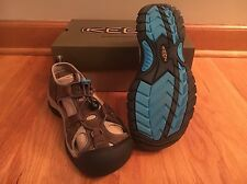KEEN Venice Leather Sandals Women's Size 8 EU 38.5 Dark Earth/Carribean Sea NIB