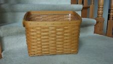 Longaberger 1999 Newspaper Basket with Protector and 2 Leather Handles