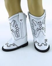 "Eagle Cowboy Boot in White - For American Girl, Boys and other 18"" dolls"